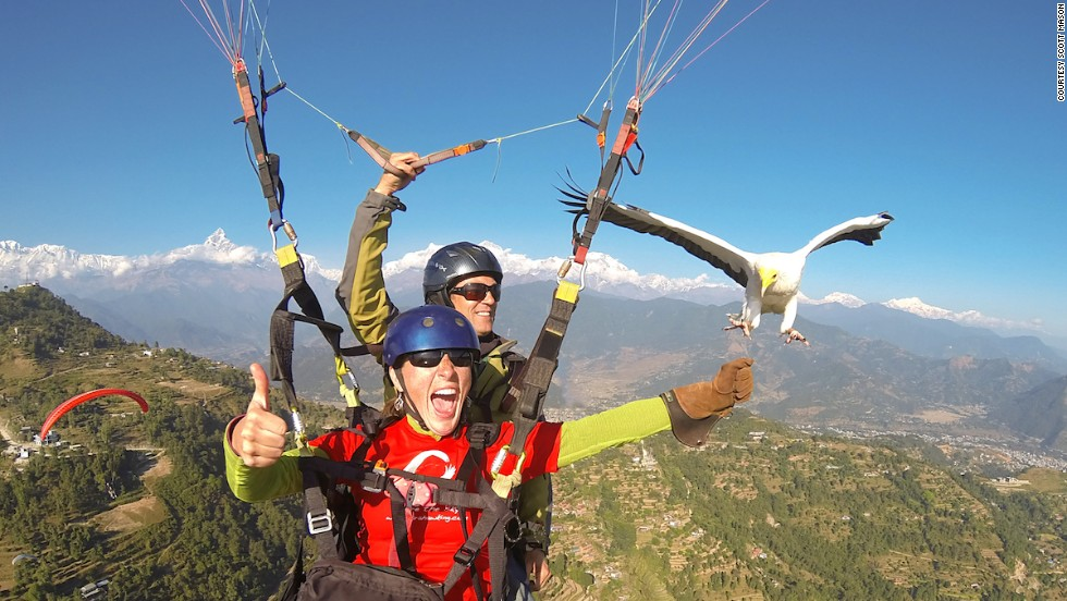 Nepal's Parahawking Project offers paragliding with a twist -- fliers are joined by a trained Egyptian vulture. The birds guide the paragliders to pockets of thermal air. In exchange, they're rewarded in-flight with a chunk of raw meat.