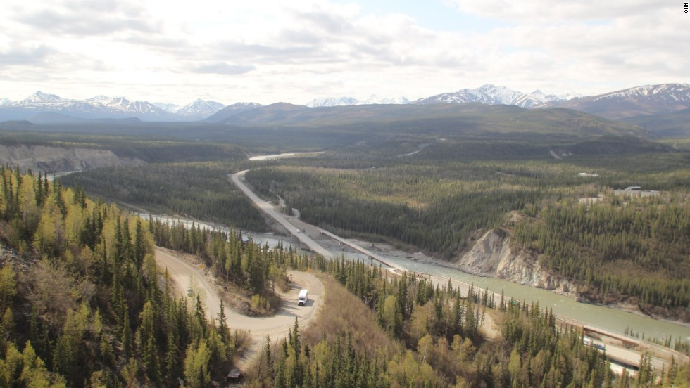 At the top of the road, visitors can take in monster views across the Nenana River toward the entrance of Denali National Park and Preserve.