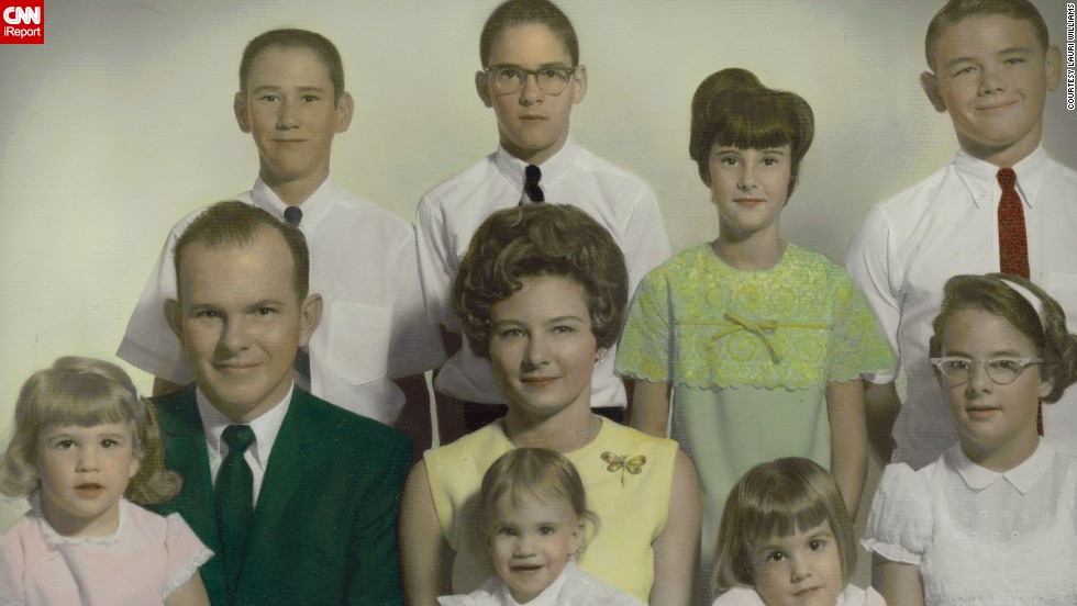 "<a href=""http://ireport.cnn.com/docs/DOC-1120078"">Lauri Williams</a>, bottom row, second from right, shared this photo of her family when she was 3 years old in Channelview, Texas. The photo, taken on Easter in 1968, is somewhat bittersweet; it was the next-to-last family photo taken before her parents divorced."