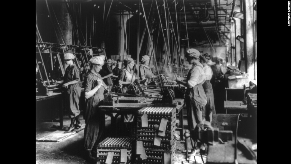 Women work at the Gray & Davis Co. ordnance factory in Cambridge, Massachusetts. Munitions workers faced harsh working conditions that were sometimes lethal, such as in the Barnbow National Factory explosion that killed 35 near Leeds, England.