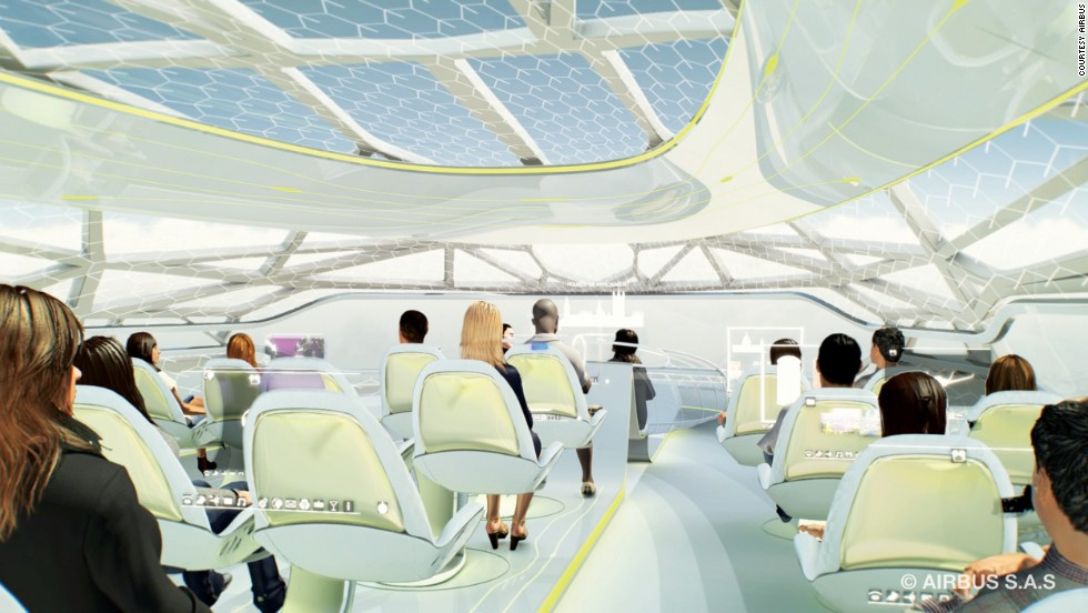 Aircraft manufacturer Airbus has floated the idea of a futuristic plane with a transparent cabin, holographic pop-up gaming displays and seats that change in size and shape to fit each passenger. They've hinted that such a plane could be in the skies by 2050.