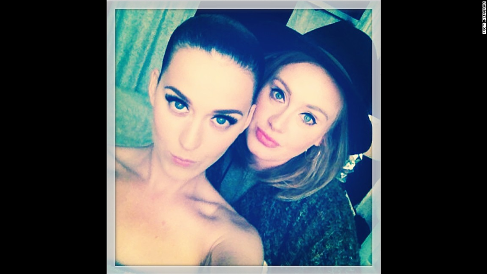 "Two of the world's biggest pop stars -- Katy Perry, left, and Adele -- appear in a selfie that was posted to <a href=""http://instagram.com/p/oj4Oyvv-dG/"" target=""_blank"">Perry's Instagram account</a> on Wednesday, May 28. It was taken while Perry was in London for her Prismatic World Tour. ""...And on the 2nd LDN show the Queen graced me with her presence,"" Perry wrote."