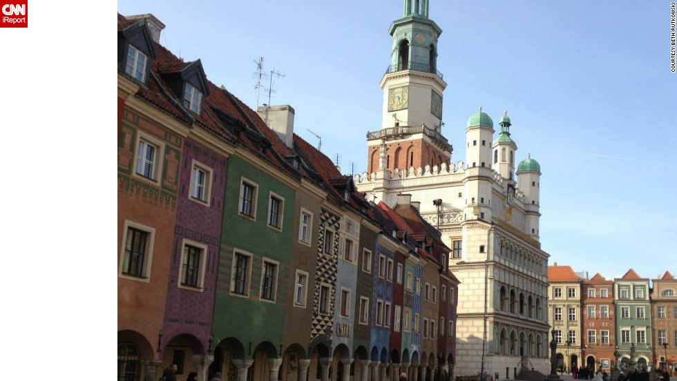 """<strong>18. Poznan's Stary Rynek: </strong>The <a href=""""http://ireport.cnn.com/docs/DOC-1138378"""">old town square</a> in the city of Poznan captured Julius Marchwicki's heart. It """"is the quintessential Polish town square, featuring a ratusz (historic city hall), colorful buildings, outdoor bars/restaurants and sculptures or artwork,"""" he said. He finds it more personal, accessible and less touristy than most European town squares. Plus, he says, it features some of the best beer around."""