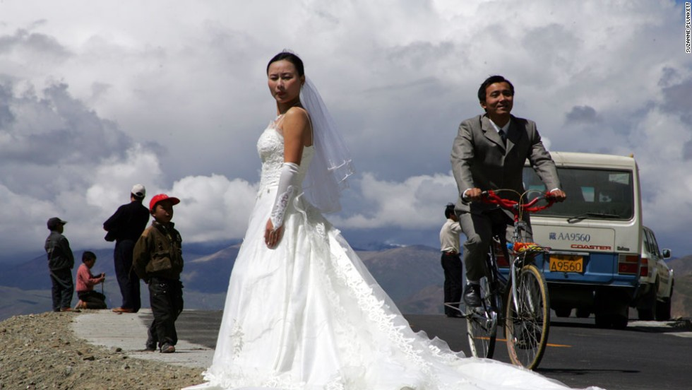 Tackling the Friendship Highway from Lhasa to the Nepalese border by bicycle takes careful planning. Especially if you're planning to get married along the way. The stunning scenery is, apparently, a favorite for wedding photographers.