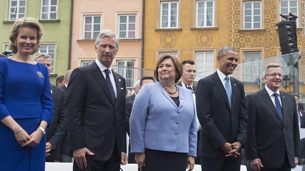 From left, Queen Mathilde and King Philippe of Belgium, Polish first lady Anna Komorowska, Obama and Polish President Bronislaw Komorowski attend a ceremony in Warsaw, Poland, on June 4 to mark the 25th anniversary of Poland's return to democracy.