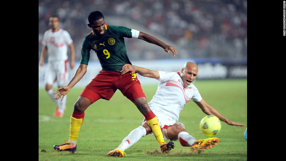 """<strong>Samuel Eto'o (Cameroon):</strong> The first World Cup for Eto'o, left, was in 1998, but don't call him old. He'll make you look silly, as he did in May when he mocked his Chelsea coach, Jose Mourinho, with an <a href=""""http://i2.cdn.turner.com/cnn/dam/assets/140308151112-etoo-reaction-story-top.jpg"""" target=""""_blank"""">old-man goal celebration</a>. If you ask Eto'o, he has two more World Cups in him. The 33-year-old will prove integral to the Indomitable Lions' campaign, having notched 56 goals in 117 caps (not to mention 300+ goals for clubs in Russia, Italy, Spain and England)."""