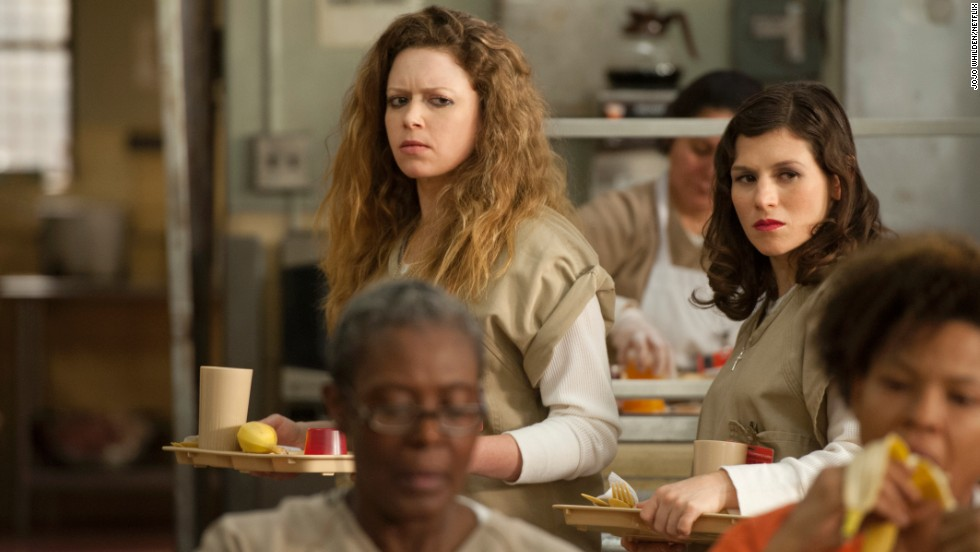 Nicky Nichols (Natasha Lyonne), left, is a recovering drug addict and Lorna Morello (Yael Stone) a kitchen worker who, in season one, were friends with benefits.