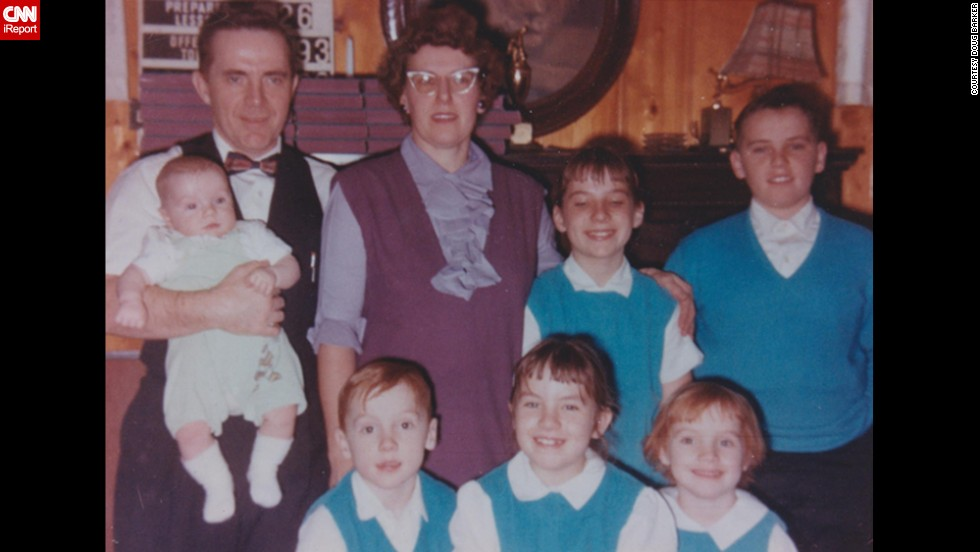 """My mother was an avid seamstress and took great pride in showing off her children dressed in the turquoise tops she had made for my brothers and sisters,"" said <a href=""http://ireport.cnn.com/docs/DOC-1119635"">Doug Barker</a> of Westfield, Indiana about the matching outfits. ""I just spoke with her and she still remembers dressing us alike. I'm sure most will notice but, besides the matching outfits, I especially like her cat glasses and my Dad's bow tie. She told me how important it was to dress the children alike back then."""