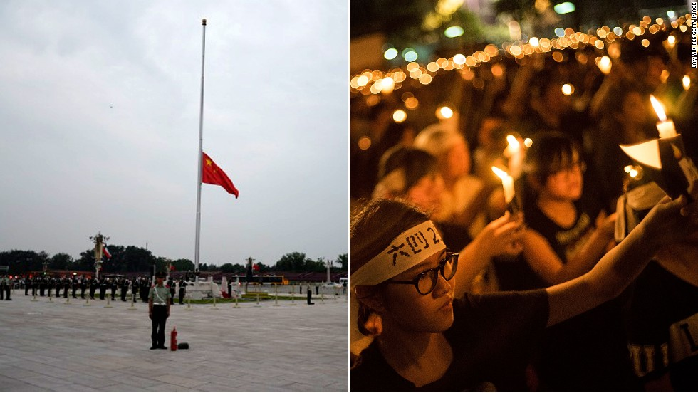 The 25th anniversary of the Tiananmen Square military crackdown on student protesters passed without incident in Beijing. Meanwhile, organizers of an annual candelight vigil in Hong Kong said 180,000 people were there to mark the tragic date.