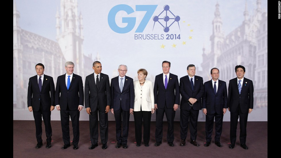 The G7 heads of state pose for a group photo with the presidents of the European Council and the European Commission during the second day of their meeting in Brussels on June 5.