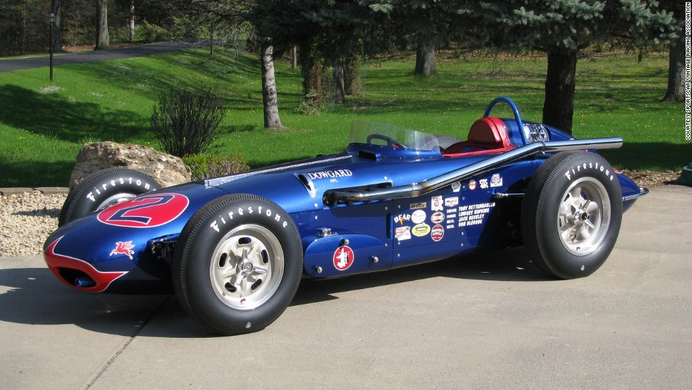 A replica of a roadster built by the legendary A.J. Watson which competed in the 1960 Indianapolis 500. Sponsored by Dowgard, the car offers a detailed example of Watson-built cars during the roadster era of the 1950s and '60s. This car is powered by a 2 liter Alfa Romeo engine a with a 5-speed transmission. An Offenhauser engine would have been the typical Watson power plant of the period.