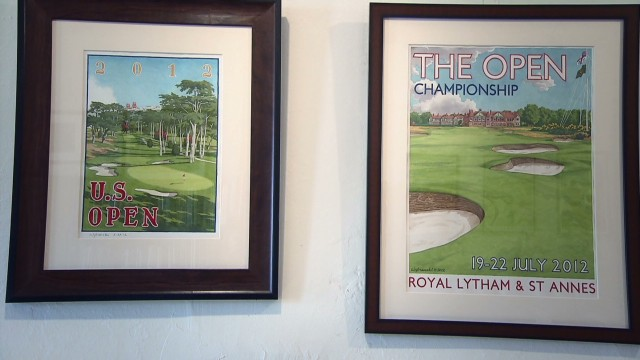 Beautiful hand-painted golf posters