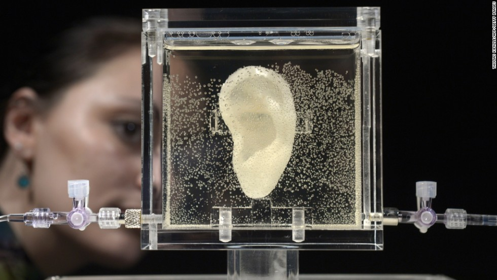 "A woman looks at a replica of Vincent van Gogh's severed ear Wednesday, June 4, at the ZKM museum in Karlsruhe, Germany. The ear is part of the ""Sugababe"" exhibition by Diemut Strebe. Strebe, who specializes in artwork using biological material, collaborated with scientists to <a href=""http://www.cnn.com/2014/06/06/tech/social-media/apparently-this-matters-vincent-van-gogh-3d-printed-ear/index.html"" target=""_blank"">reconstruct the legendary painter's ear</a> using 3-D printers and DNA from one of van Gogh's relatives."