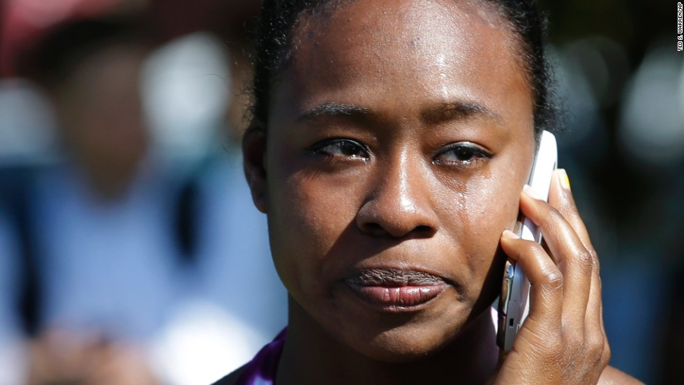 Briana Clarke, a student at Seattle Pacific University, cries at the scene of the shooting.