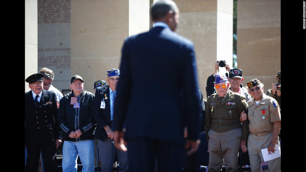 World War II veterans listen to President Barack Obama at the Normandy American Cemetery on June 6.
