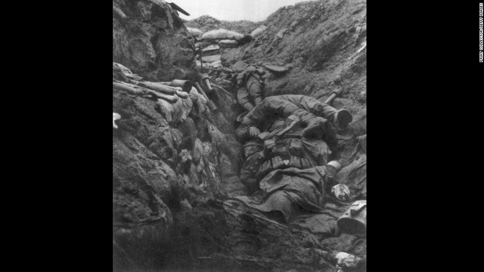 Dead bodies lie piled in a trench at Verdun on April 9, 1916.