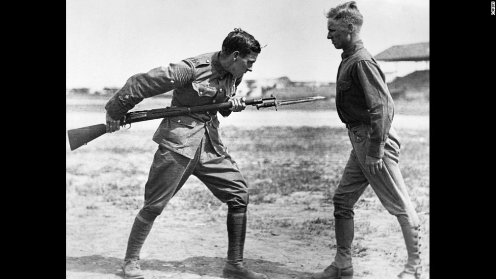 A British sergeant major instructs American soldiers in bayonet fighting at Texas' Camp Dick.