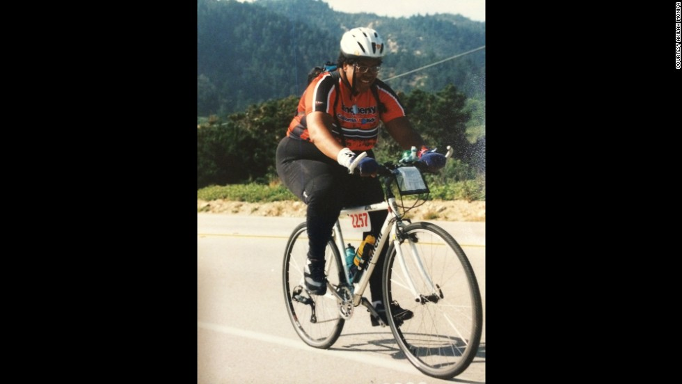 "Around 2000, when Monifa did this AIDS ride, she had gotten so heavy she stopped weighing herself.  ""I was pretty sure I was beyond 400 pounds, but I quit weighing myself when I got to 389."""