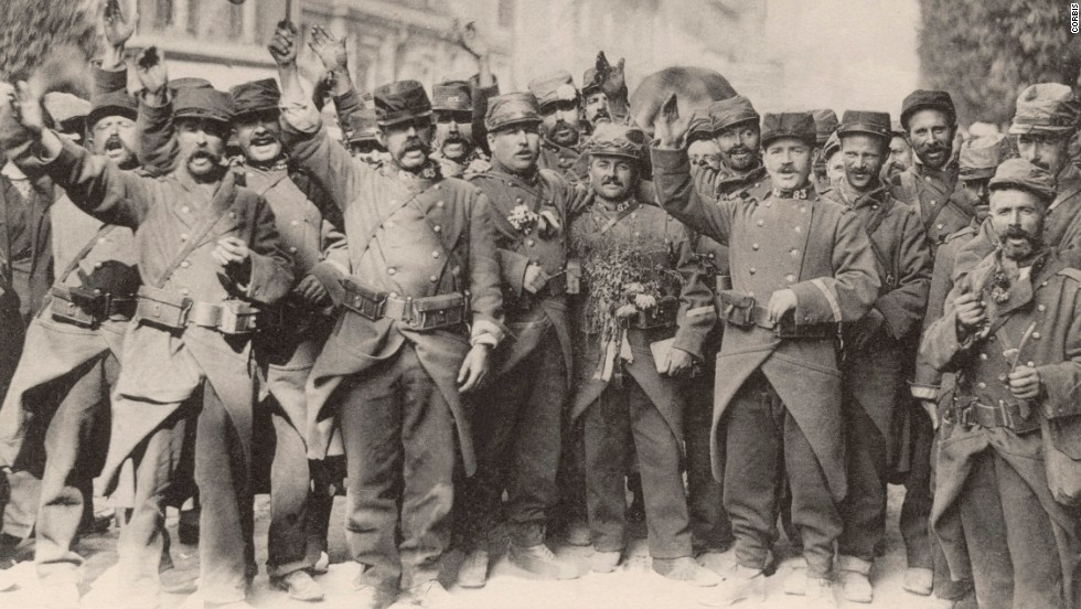 "French soldiers sing the national anthem at the beginning of World War I in August 1914. This ""war to end all wars"" might seem like ancient history, but it changed the world forever. It transformed the way war was fought, upended cultures and home life and stimulated innovations that affect us today. With more than 30 combatant nations and nearly 70 million men mobilized, World War I profoundly destabilized the international order. Look back at some of the war's key events."