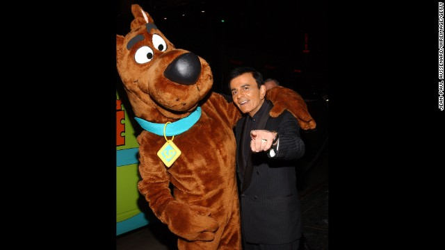 "Casey Kasem poses with Scooby Doo. He was the voice of ""Scooby Doo's"" Shaggy for decades."
