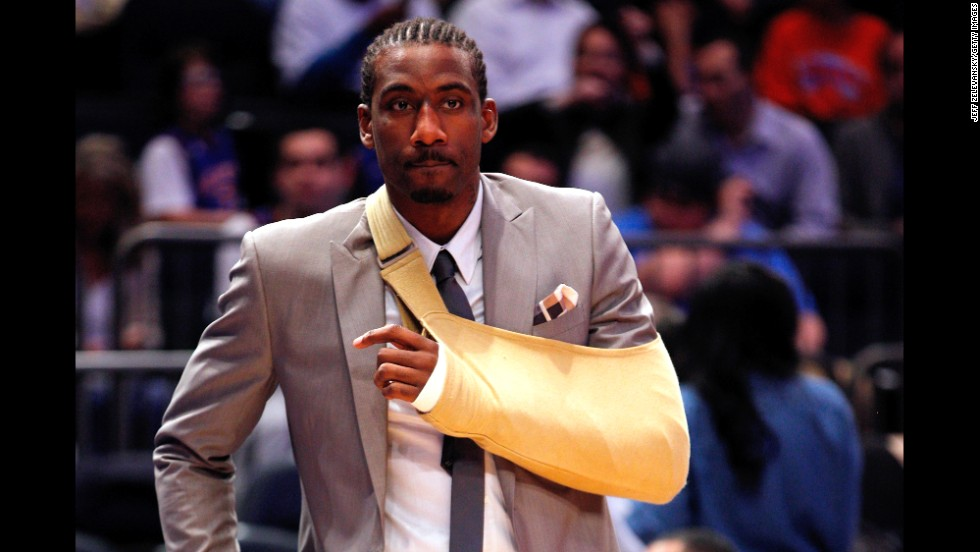 <strong>Amar'e Stoudemire: </strong>After his Knicks lost 104-94 to the Miami Heat in the 2012 NBA playoffs, Stoudemire made the boneheaded decision to punch a glass case containing a fire extinguisher. The big man lacerated his nonshooting hand and missed the third game of the series. He'd return for Game 4, but it wouldn't be enough, as the Heat dismissed the Knicks in five games.