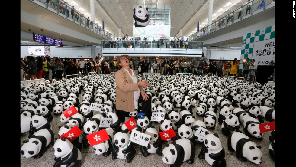 The artist displays some of his pandas at Hong Kong International Airport on Monday, June 9.