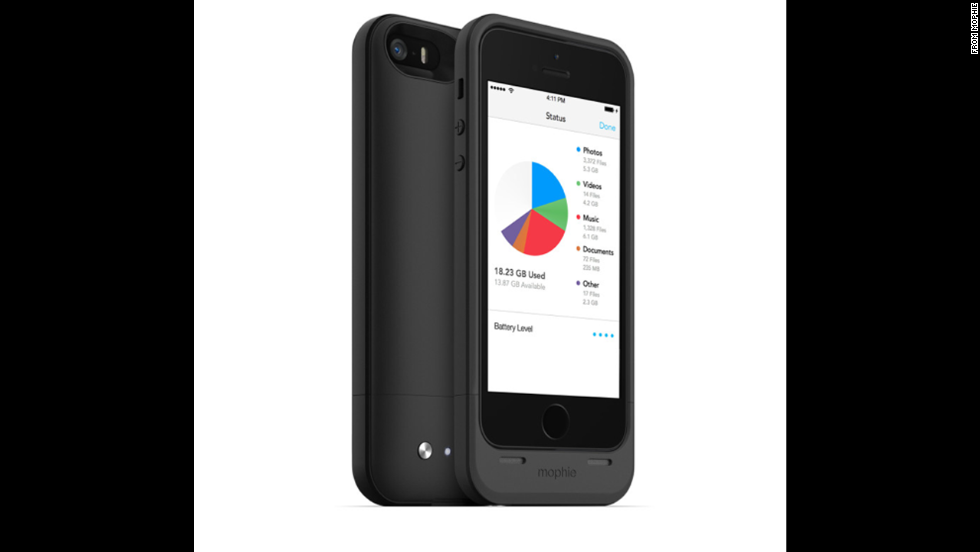 "The <a href=""http://www.mophie.com/shop/space-pack"" target=""_blank"">Mophie Space Pack</a> ($149) is three phone helpers in one. Made for the iPhone 5 and 5S, it serves as a protective case and a charger, as well as providing up to 32GB of additional storage space."