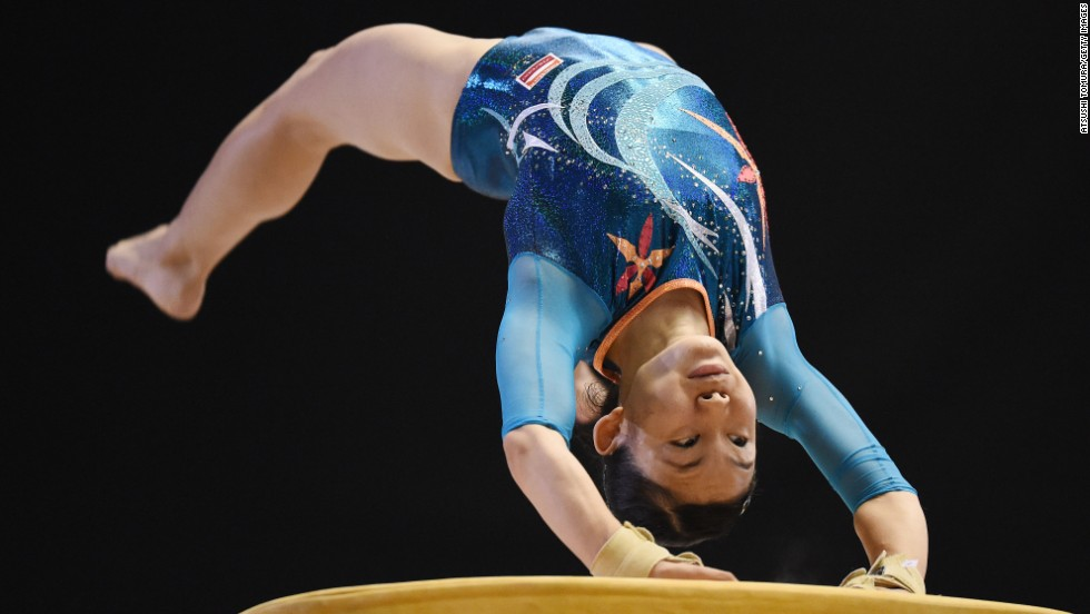 Wakana Inoue competes on the vault during the first day of the Artistic Gymnastics NHK Trophy event Saturday, June 7, in Tokyo.