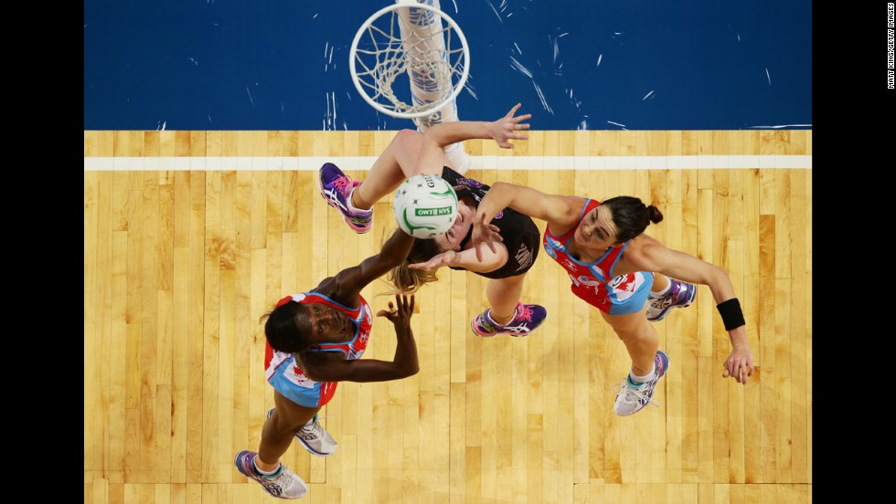 From left, netball players Sonia Mkoloma, Ellen Haplenny and Sharni Layton compete in the minor semifinal of the ANZ Championship on Sunday, June 8, in Sydney. Haplenny's team, the Waikato BOP Magic, edged out the NSW Swifts 50-49.