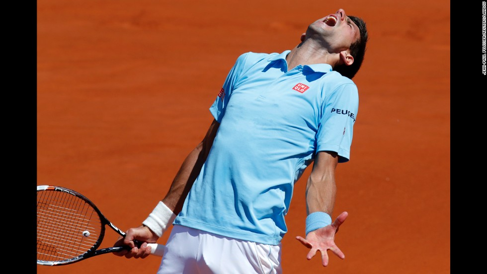 Novak Djokovic reacts during his French Open semifinal match against Ernests Gulbis on Friday, June 6. Djokovic won in four sets but lost to Rafael Nadal in the final.