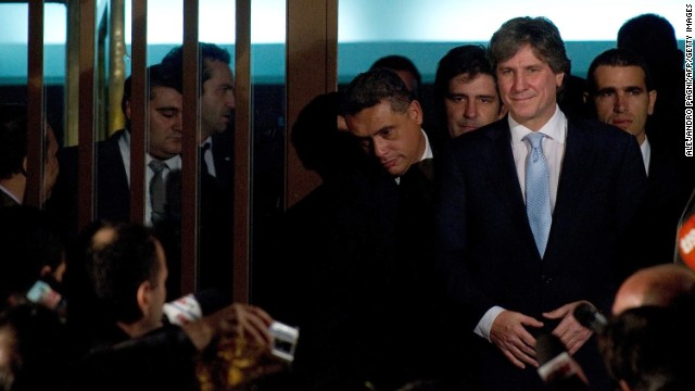 Argentine Vice President Amado Boudou appears at court in Buenos Aires on June 9.