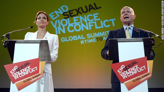 Actress and U.N. special envoy Angelina Jolie and Britain's Foreign Secretary William Hague at the Global Summit to End Sexual Violence in Conflict on June 10, 2014 in London.