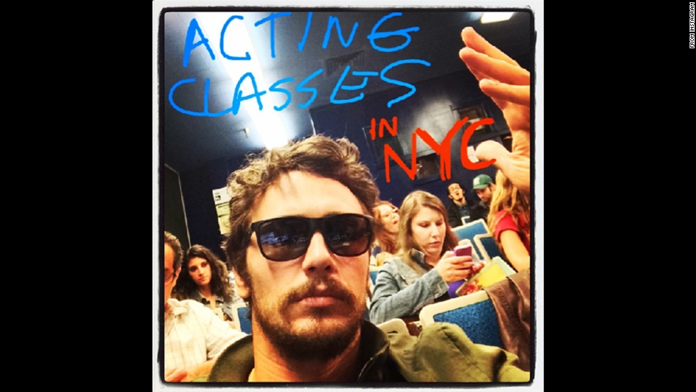 """Actor James Franco promotes his acting school, Studio 4, in an <a href=""""http://instagram.com/p/pB_aWrS9XD/"""" target=""""_blank"""">Instagram post</a> Monday, June 9. The school is based in Los Angeles but now offers classes in New York."""