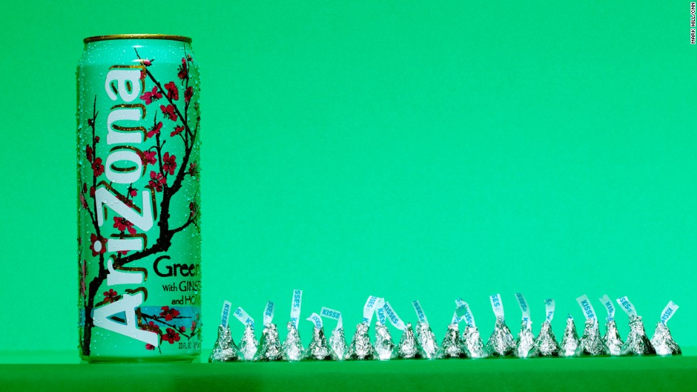 <strong>Tea: Arizona Green Tea with Ginseng & Honey.</strong><br />A 23-ounce can of Arizona Green Tea contains<strong> </strong>51 grams of sugar, which is about the same as can be found in 20 Hershey's Kisses.