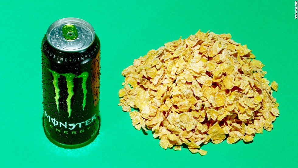 <strong>Energy drink: Monster Energy.</strong><br />This 16-ounce can of Monster Energy has 54 grams of sugar. It contains the same amount of sugar as about 3.5 cups of frosted flakes.