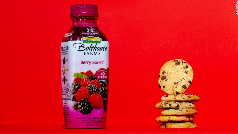 <strong>Juice smoothie: Bolthouse Farms Berry Boost.</strong><br />You'd consume 24 grams of sugar by drinking this Bolthouse Farms Berry Boost 15.2-ounce bottle -- or by eating six Chips Ahoy! cookies.