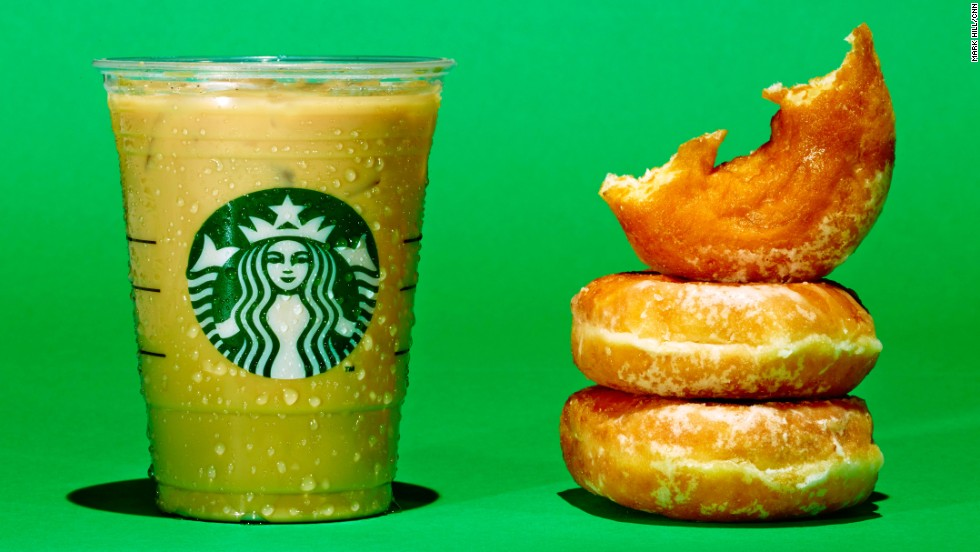 <strong>Iced coffee: Starbucks Iced Flavored Latte. </strong><br />A Grande Starbucks Iced Flavored Latte with 2% milk and your choice of syrup has about 28 grams of sugar. The same amount of sugar is in 2.5 Krispy Kreme donuts.