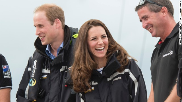 AUCKLAND, NEW ZEALAND - APRIL 11: Catherine, Duchess of Cambridge and Prince William, Duke of Cambridge on board an America's Cup yacht in Auckland Harbour on April 11, 2014 in Auckland, New Zealand. The Duke and Duchess of Cambridge are on a three-week tour of Australia and New Zealand, the first official trip overseas with their son, Prince George of Cambridge. (Photo by Mark Cuthbert-Pool/Getty Images)