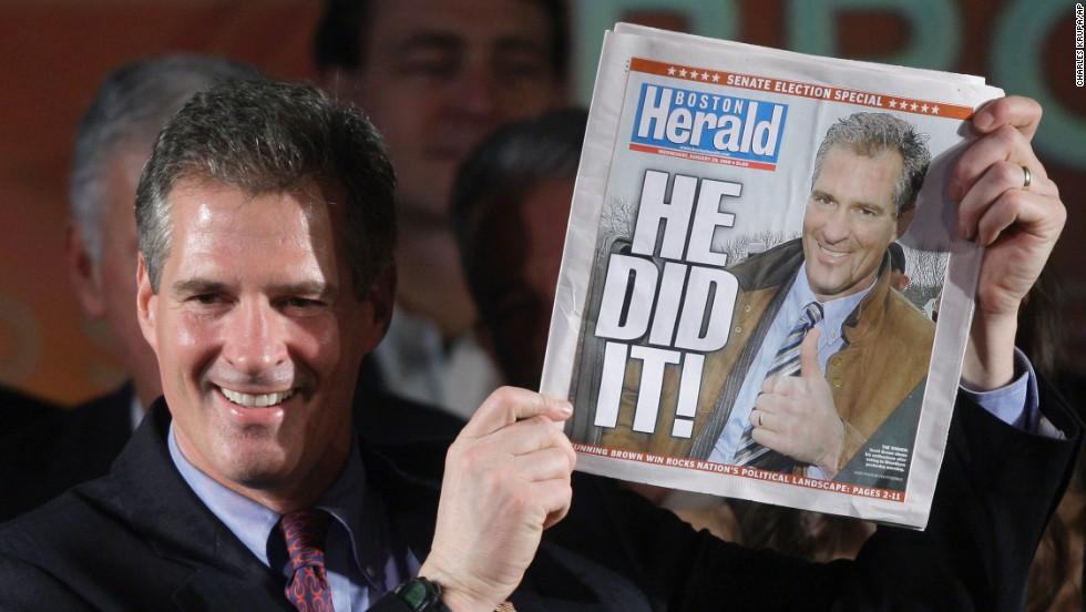 2010: Republican Scott Brown, a Massachusetts state senator, beat Democratic Attorney General Martha Coakley in a special election for U.S. Senate.