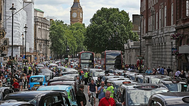 Taxi drivers who say Uber is ruining their livelihoods brought parts of central London to a standstill.