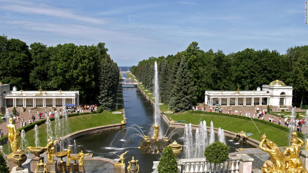 At the Peterhof Palace Garden in St. Petersburg, a famed view looks across the Grand Cascade and Samson Fountain through a canal to the sea.
