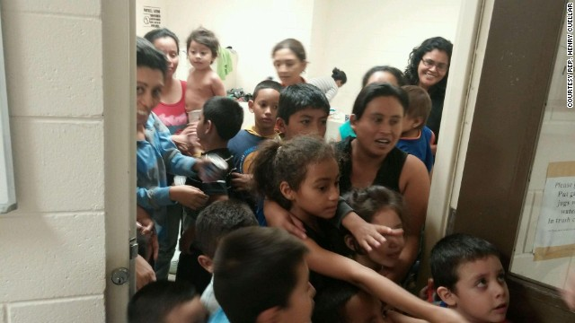 The office of Texas Congressman Henry Cuellar released this photo showing crowding at a Customs and Border Protection detention facility in South Texas.