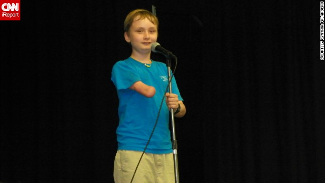 The author's son Wyatt takes the stage.