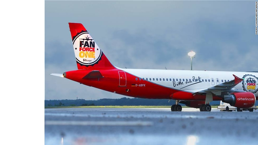 "It's not carrying a national football team, but this Air Berlin Airbus A320 has been turned into ""Fan Force One"" during the World Cup."