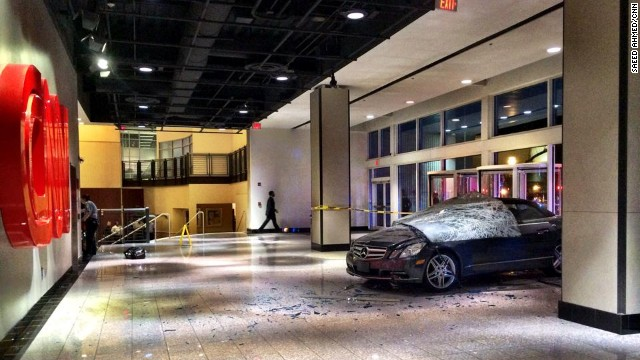 Gerlmy Todd, 22, drove his Mercedes into the CNN Center early Friday morning.