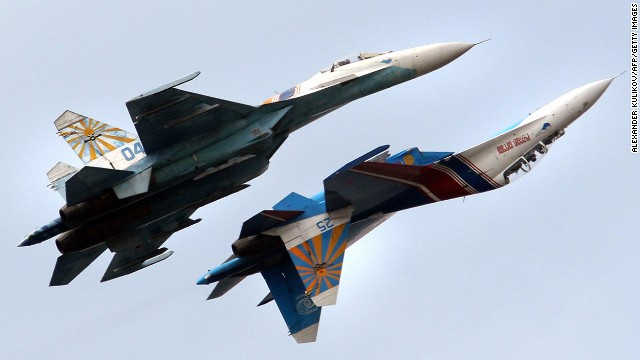 A Russian Air Force flight demonstration team perform with their SU-27 jet fighters over St. Petersburg, Russia.