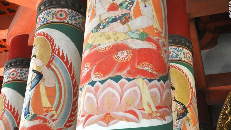 Inside the sacred Daito stupa at Danjo Garan (one of the two most sacred sites in Koyasan), Bodhisattvas (Bosatsu), are painted on each pillar.