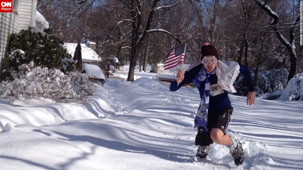 "After shoveling 8 inches of snow in February 2014, <a href=""http://ireport.cnn.com/docs/DOC-1085409"">Geoffrey Arthur Drewyor</a> decided to create a parody version of the Sochi Winter Olympics with an obstacle course around his home in Cortlandt Manor, New York. The challenges included running through piles of snow while trying to capture an American flag."