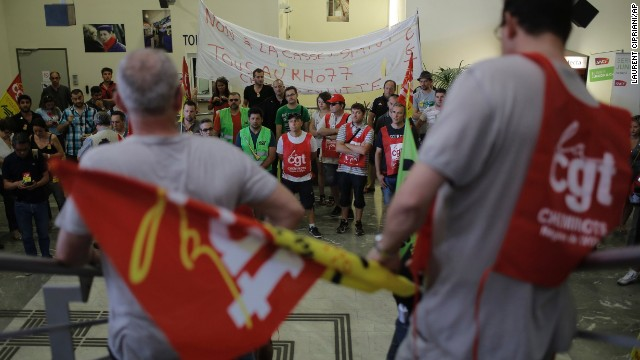 French rail workers attend a general assembly in the Lyon Perrache train station, central France.