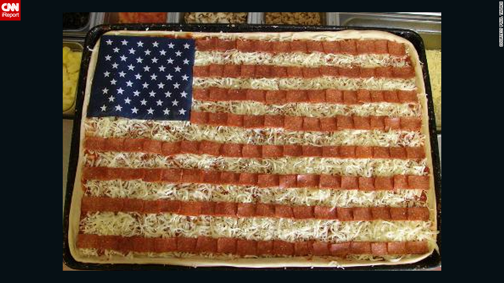 "Care for a slice? Pizza maker <a href=""http://ireport.cnn.com/docs/DOC-270415"">Paul Tamasi </a>created this American flag-inspired dish for Flag Day in June 2009. ""I am proud to be an American and an American flag always flies in the breeze outside my restaurant,"" he said."